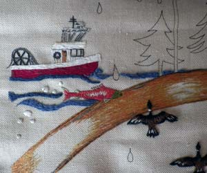 Close up photo of the Western panel, with only some embroidery completed,  of the Canadian Embroidery Tapestry