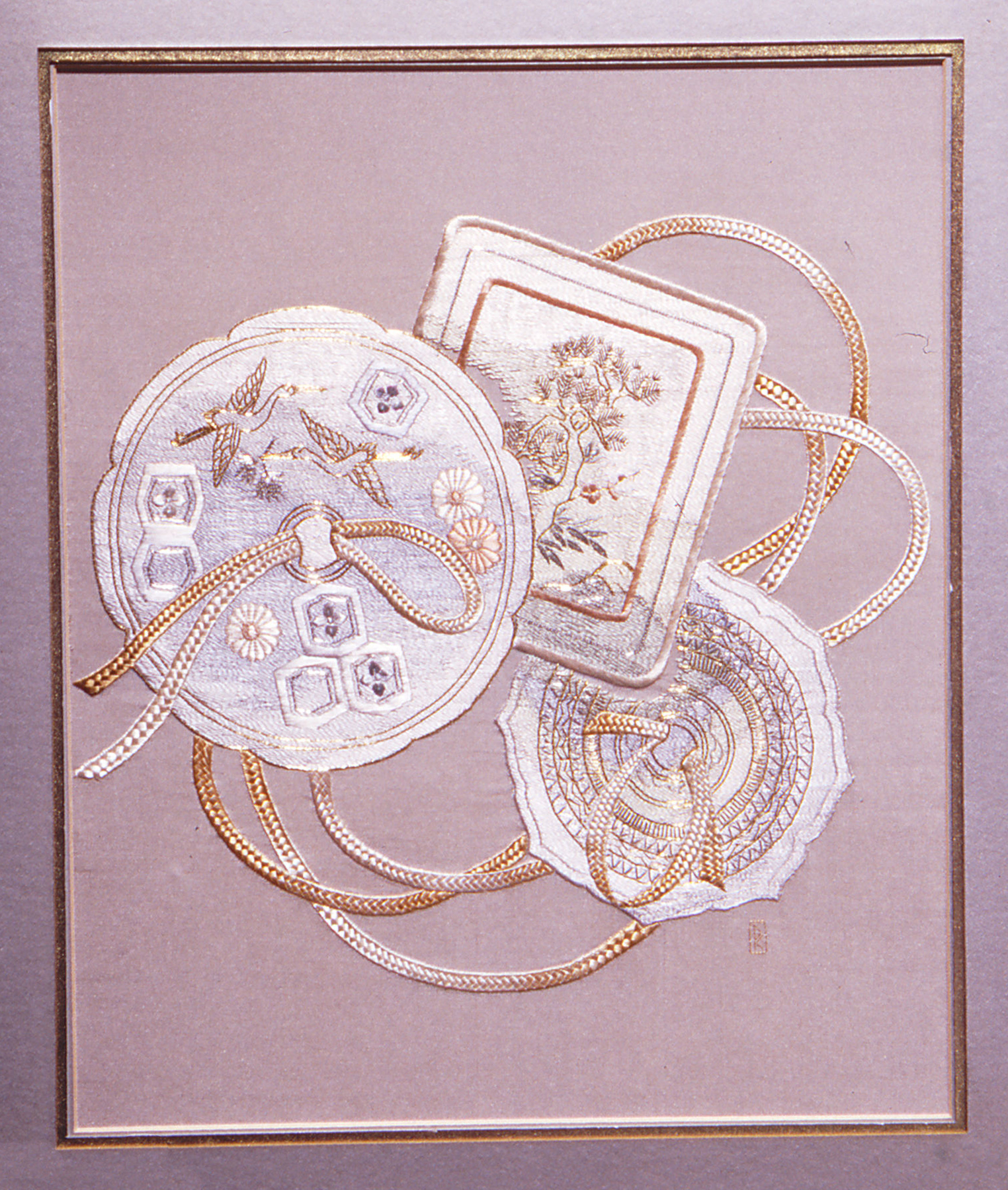 Reflective Japanese silk and metal embroidery with three mirrors connected by gold and silver braids
