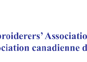 The sheild emblem of the Embroiderers' Association of Canada, with a needle, thimble and the letters E, A, C, and the words Embroiderers' Association of Canada, Inc./Association canadienne de broderie, Inc. Inc.