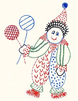 embroidered clown holding balloons