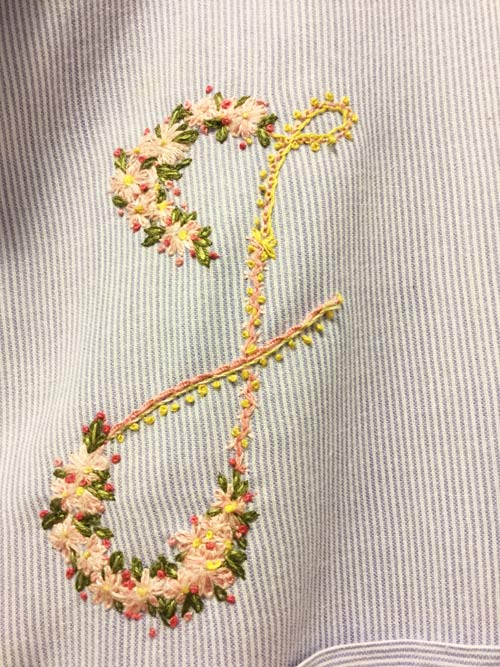 photo of a an embroidered letter J